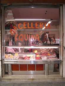 A horse meat butcher in Italy.
