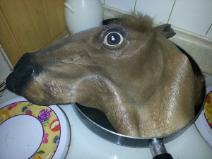 Frying up some horse meat.