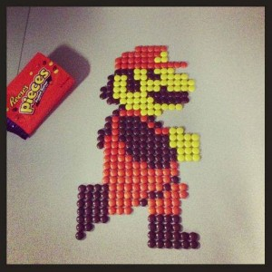 Mario is made of Reese's Pixels.