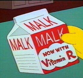 Ow! My bones are so brittle. But I always drink plenty of.... Malk?